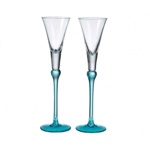 Lillian Rose Set of Tall Flutes - Aqua