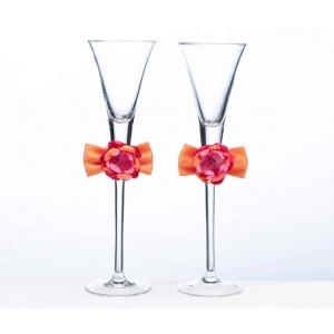 Lillian Rose Hot Pink & Orange Toasting Flutes