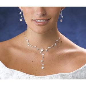 Lillian Rose Rhinestone Flower Necklace & Ear Set