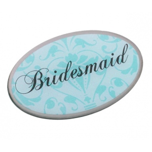 Lillian Rose Bridesmaid Pin - Oval Aqua