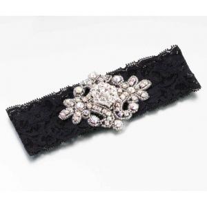 Lillian Rose Jeweled Garter - Black