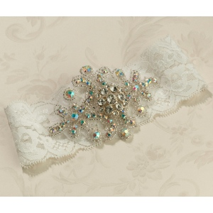 Lillian Rose Jeweled Garter - Ivory