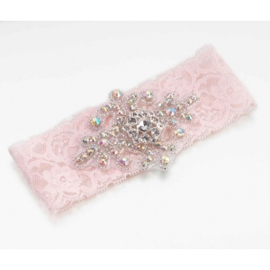 Lillian Rose Jeweled Garter - Pink