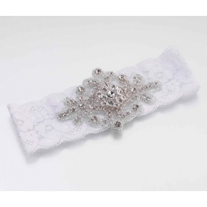 Lillian Rose Jeweled Garter - White