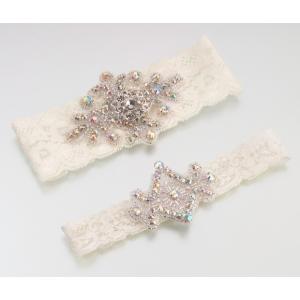 Lillian Rose Jeweled Garter Set - Ivory