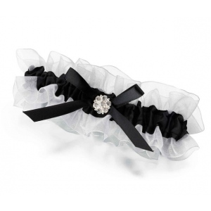 Lillian Rose Black Satin Garter with Rhinestone