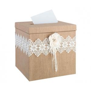 Lillian Rose Burlap and Lace Card Box