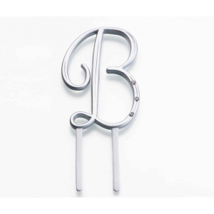 Lillian Rose Silver Rhinestone Monogram - Small B