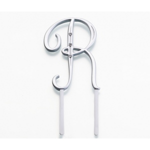Lillian Rose Silver Rhinestone Monogram - Small R