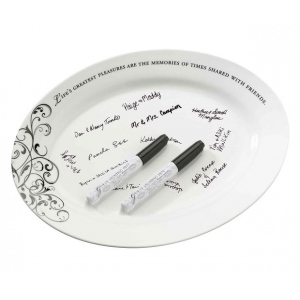 Lillian Rose Oval Ceramic Signature Plate with Pens