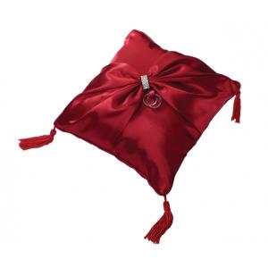 Lillian Rose Satin Sash Ring Pillow-Red