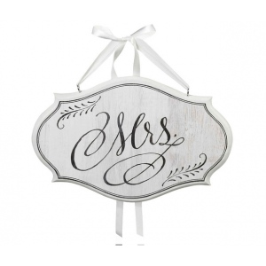 Lillian Rose Mrs. Sm Oval Sign - White