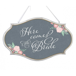 Lillian Rose Here Comes the Bride Oval Sign