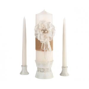 Lillian Rose Burlap & Lace Candle Set