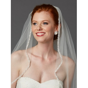 Mariell Rhinestone Edge Wedding Veil with Pearls & Beads: Ivory