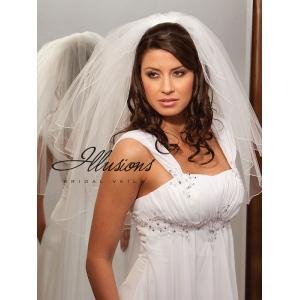 Illusions Bridal Corded Edge Veil S7-252-C: Rhinestone Accent