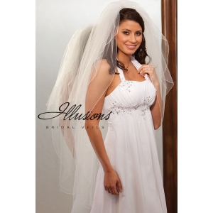 Illusions Bridal Corded Edge Veil S1-452-C: Rhinestone Accent