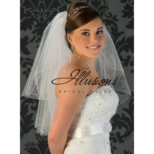 Illusions Bridal Corded Edge Veil S1-252-C: Ivory, Pearl Accent