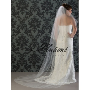 Illusions Bridal Corded Edge Veil C7-902-C: 2 Layer Long, Pearl Accent