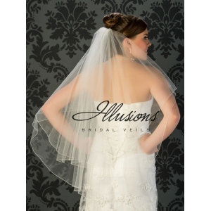 Illusions Bridal Corded Edge Veil C7-362-C: 2 Layer White