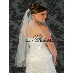 Illusions Bridal Corded Edge Veil C7-361-C:  Layer Fingertip, Rhinestone Accent