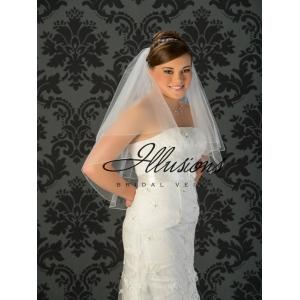 Illusions Bridal Corded Edge Veil C7-302-C: 2 Tier Waist Length, Rhinestone Accent