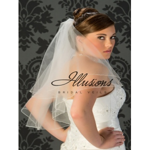 Illusions Bridal Corded Edge Veil C7-252-C: 2 Layer Elbow Length
