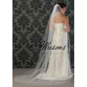 Illusions Bridal Corded Edge Veil 7-901-C: Ivory, Pearl Accent