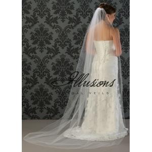 Illusions Bridal Corded Edge Veil 7-901-C: Ivory, Rhinestone Accent