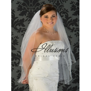 Illusions Bridal Corded Edge Veil S1-362-C: Fingertip Length, Diamond White, Rhinestone Accent