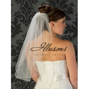 Illusions Bridal Corded Edge Veil 7-251-C: Waist Length, Simple, Pearl Accent