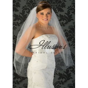 Illusions Bridal Cut Edge Veil S7-362-CT: Pearl Accent