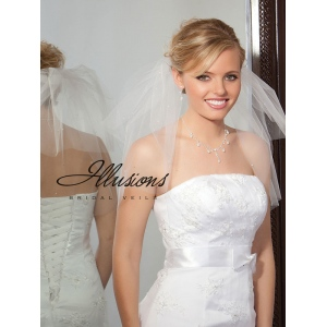 Illusions Bridal Cut Edge Veil S5-202-CT-P: Pearl Accent