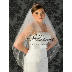 Illusions Bridal Beaded and Specialty Veils V-7028: Silver Edge with Pearls
