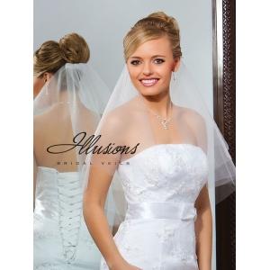 Illusions Bridal Cut Edge Veil C7-252-CT: Pearl Accent