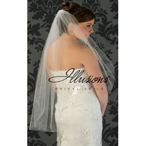 Illusions Bridal Cut Edge Veil 7-361-CT: Pearl Accent