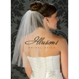 Illusions Bridal Cut Edge Veil 5-201-CT: Rhinestone Accent
