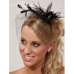Illusions Bridal Visor Veils VS-7043: Black