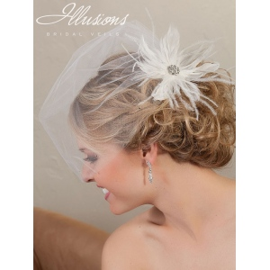 Illusions Bridal Visor Veils VS-7039: Diamond White