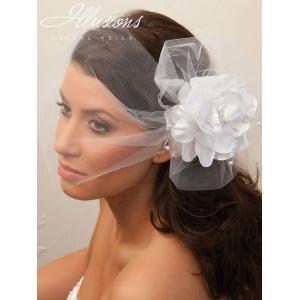 Illusions Bridal Visor Veils with Flower VS-7027: Ivory