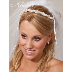 Illusions Bridal Headband with Ribbon 2849