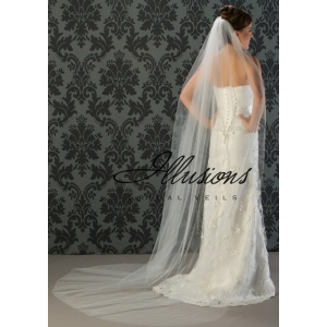 Illusions Bridal Cut Edge Veil 1-901-CT: Pearl Accent
