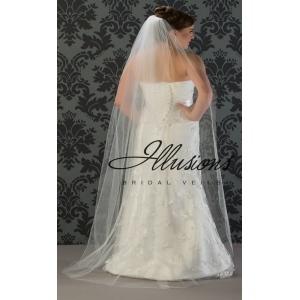Illusions Bridal Cut Edge Wedding Veil 1-721-CT: Floor Length, Pearl Accent