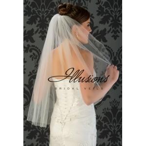 Illusions Bridal Cut Edge Wedding Veil 1-301-CT: Waist Length, Pearl Accent