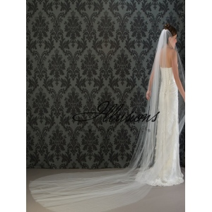 Illusions Bridal Cut Edge Veil 1-1441-CT: Pearl Accent