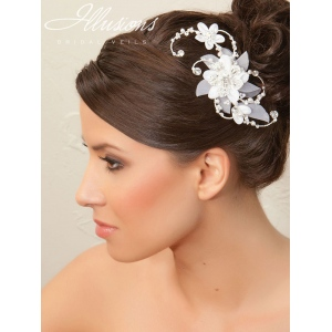 Illusions Bridal Hair Accessories 8248: White and Silver