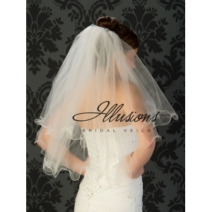 Illusions Bridal Filament Edge Veil C1-302-F: Pretty, Pearl Accent