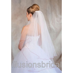 Illusions Bridal Colored Veils and Edges: Red Corded Edge