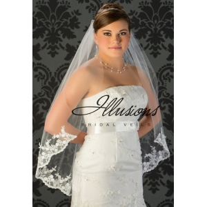Illusions Bridal Lace Edge Veil 7-361-B4L: Rhinestone Accent