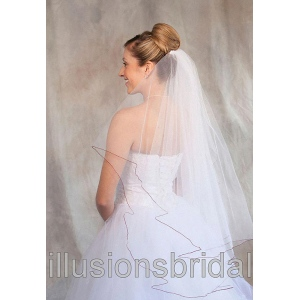 Illusions Bridal Colored Veils and Edges: Garnet Corded Edge